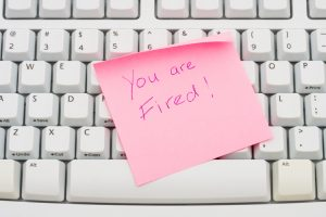 you are fired post-it on keyboard